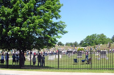It was Memorial Day and these folks were holding a major memorial in this large cemetary.