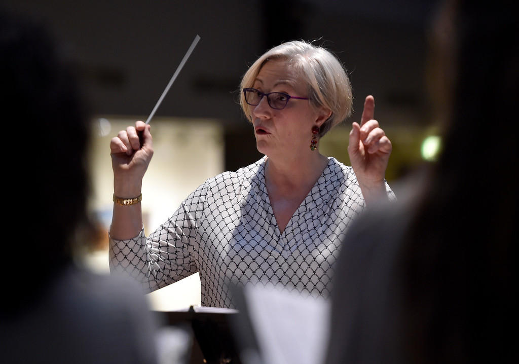 . BOULDER, CO - MARCH 11, 2019: Artistic Director Amanda Balestrieri conducts during a  Seicento Baroque Ensemble rehearsal on Tuesday at the First United Methodist Church in Boulder. For more photos of the rehearsal go to dailycamera.com (Photo by Jeremy Papasso/Staff Photographer)