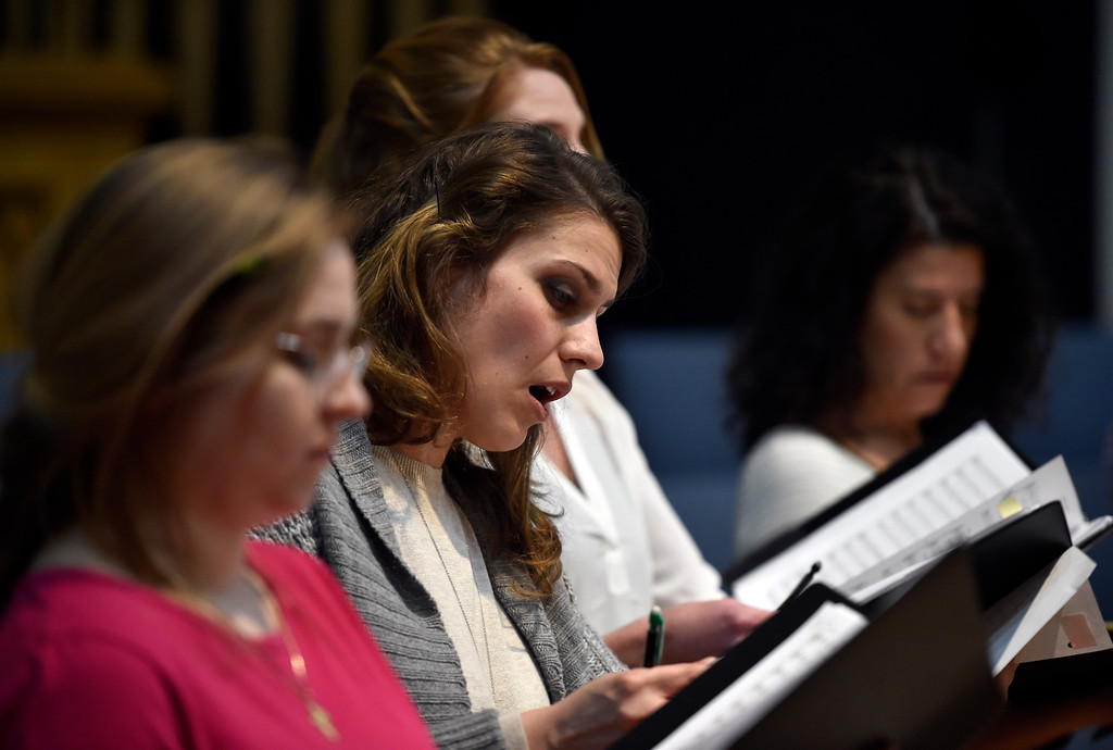. BOULDER, CO - MARCH 11, 2019: Ekaterina Kotcherguina, at center, sings during a  Seicento Baroque Ensemble rehearsal on Tuesday at the First United Methodist Church in Boulder. For more photos of the rehearsal go to dailycamera.com (Photo by Jeremy Papasso/Staff Photographer)