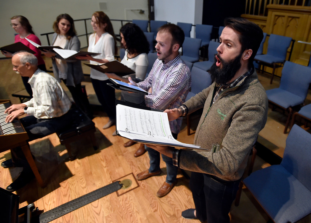 . BOULDER, CO - MARCH 11, 2019: Sean Stephenson, at right, sings during a  Seicento Baroque Ensemble rehearsal on Tuesday at the First United Methodist Church in Boulder. For more photos of the rehearsal go to dailycamera.com (Photo by Jeremy Papasso/Staff Photographer)