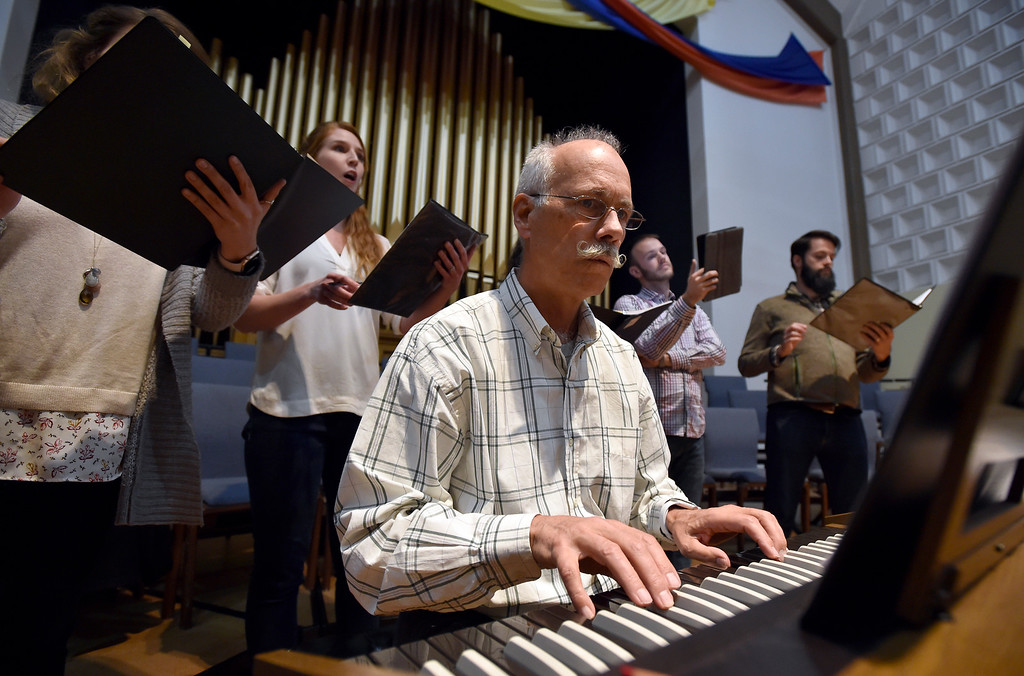 . BOULDER, CO - MARCH 11, 2019: Gerald W. Holbrook plays the keyboard during a  Seicento Baroque Ensemble rehearsal on Tuesday at the First United Methodist Church in Boulder. For more photos of the rehearsal go to dailycamera.com (Photo by Jeremy Papasso/Staff Photographer)