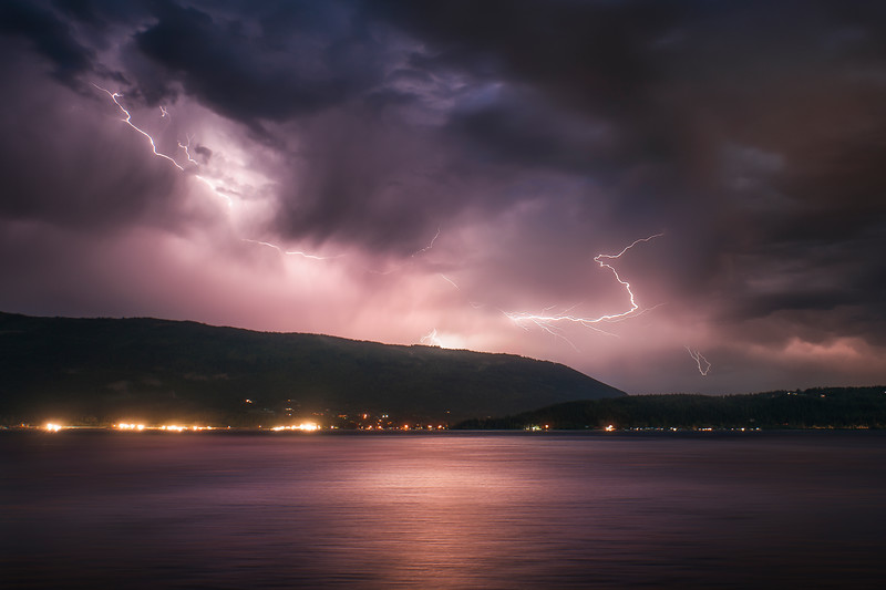 Lightning storm over Shuswap Lake, photo taken from the base of Bastion Mountain.