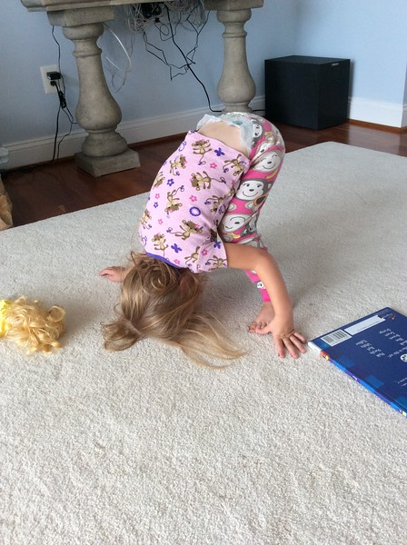 Audrey Trying to Do Head Stand