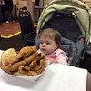 Audrey Eyes the Whaler Fish Sandwich at Wholey's