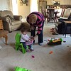 Audrey & Grammy Playing with Etch a Sketch