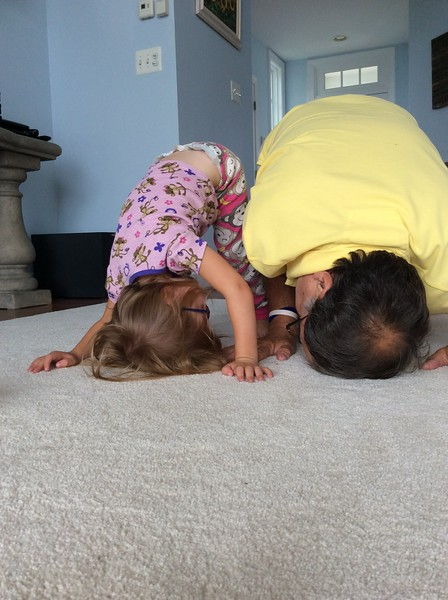 Audrey and Pappy Trying to Do Head Stands