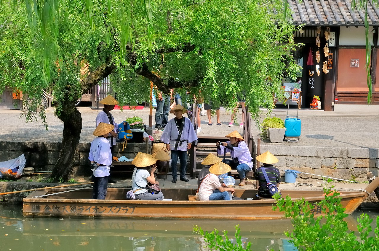 Boating in Kurashiki - a preserved Edo Period merchantile town - Japan