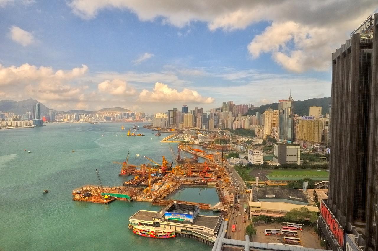 Reclaiming the land - Hong Kong harbor