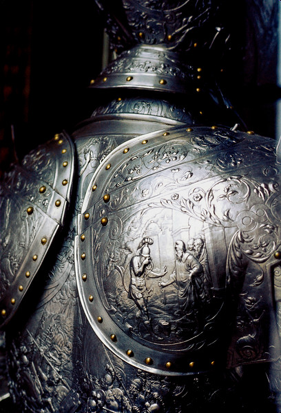 Detail of suit of armor - The Louvre - Paris, France