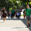 Students walking across campus at Buffalo State College.