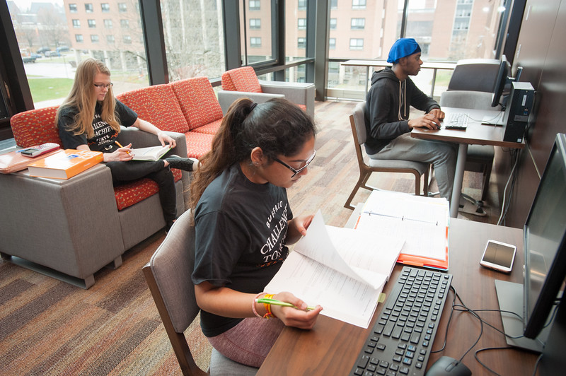 Honors students studying in Bishop Hall at Buffalo State College.