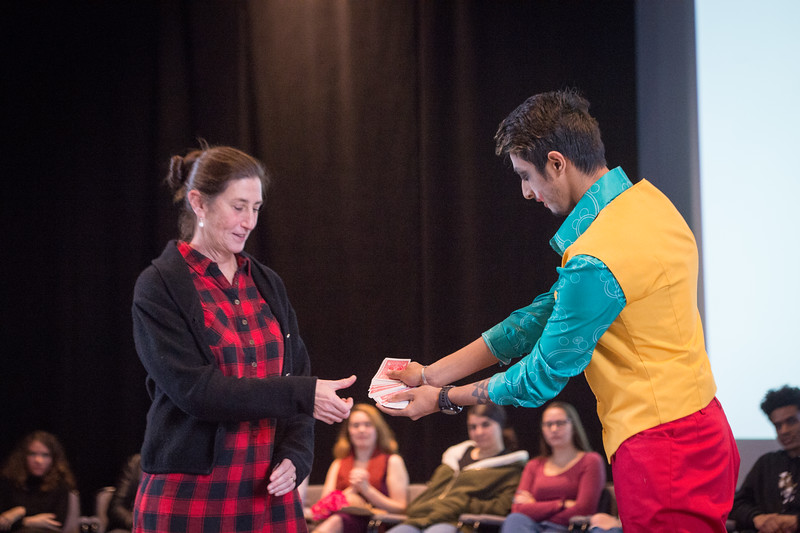 Theater student Syed Chowdhury performing at the New Student Showcase at SUNY Buffalo State College.