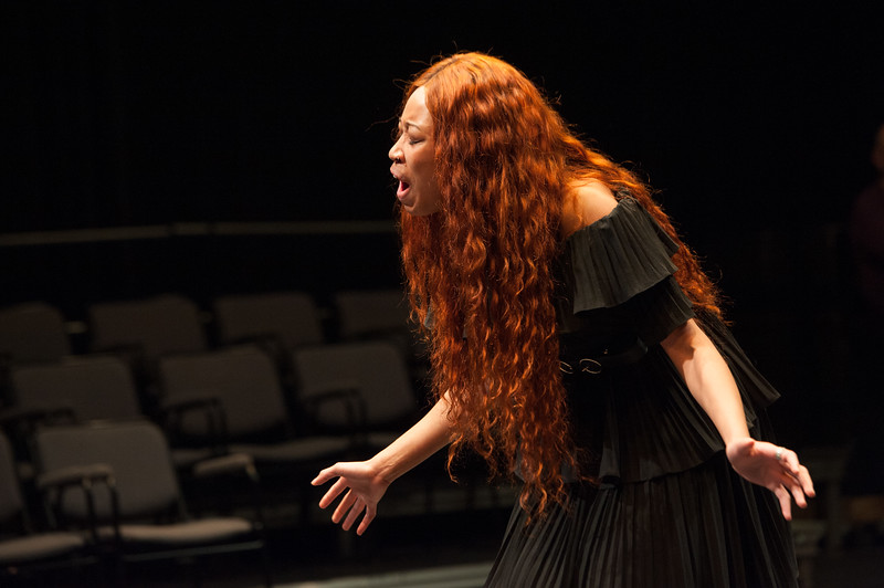 Student Tianna Livingston performs during the Theater Department New Student Showcase at Buffalo State College.