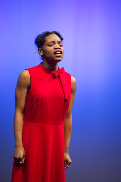 Theater student Sharde Howard performing at the Theater Department Senior Showcase at Buffalo State College.