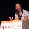 EOP alumna, Dr. Cassandra St. Vil speaking at the Educational Opportunity Program (EOP) Honors Convocation at Buffalo State College.