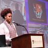 Honors student, I'Jaz Eberhardt  speaking at the Honors Programs Celebration at Buffalo State College.