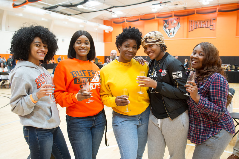 Graduating seniors celebrating at the Commencement Preview at Buffalo State College.