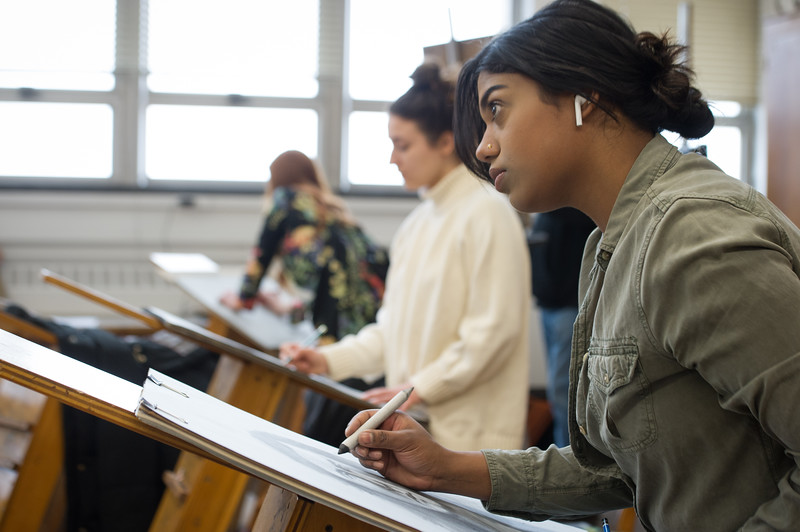Professor Lin Jiang's Art and Design drawing class at Buffalo State College.