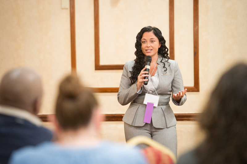 Ms. Jasmine Rand, Esquire speaking at the Networking in Higher Education: Building Bridges for a Better Tomorrow conference hosted by Buffalo State College and the University at Buffalo.