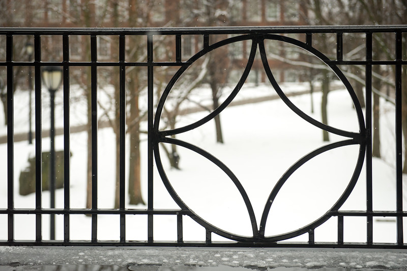 Wrought iron detail on Ketchum Hall at SUNY Buffalo State College.