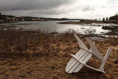 Waiting for Summer and the Tide A beautiful summer spot on a cloudy, gray winter day, this is Henry Cove in Winter Harbor Maine.