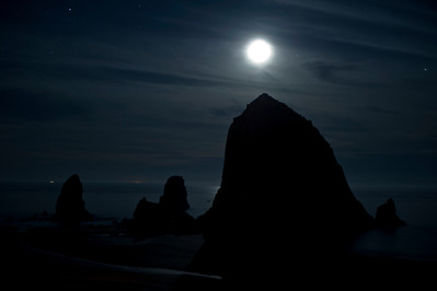 Haystack Rock Under the Moon and Stars