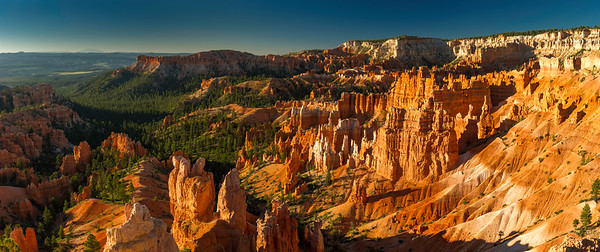 The early morning sun hits the Bryce Canyon Amphitheater