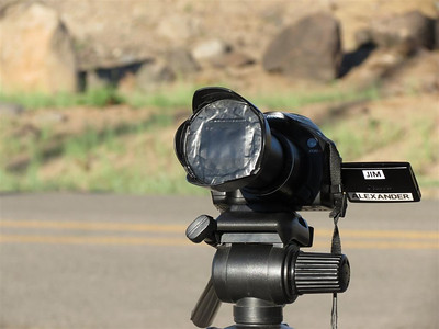 A Canon SX30 is set up to photograph the eclipse.