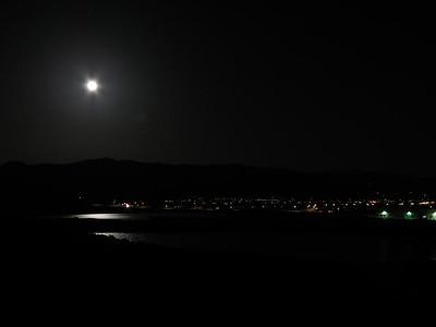Moon over Alexander Lake in Diamond Valley