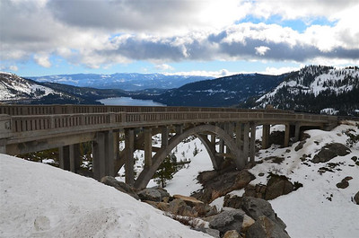 Early Morning View of the Bridge at the Overlook with Donner Lake in the background.