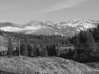 Black and White picture of the mountains near Boca Reservior and Hirschdale, California.