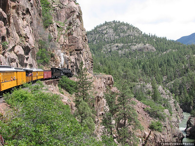 Durango Silverton Narrow Gauge Rail Road.  View of the Animas River and the San Juan Mountains.