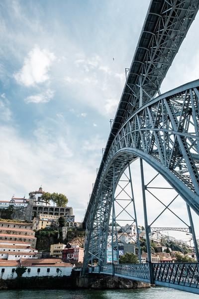 Sea level view of the Ponte Luiz I, Porto.