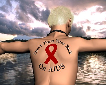 "3D CGI created for ""Don't Turn Your Back on AIDS"" event.  3D Studio Max polygon box model with simple Hair Modifier applied to head polygons.  Ribbon and text were conformed to surface of the body.  Background of the lake is a picture."