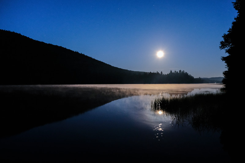 """Corn moon"" from our campsite, Lac Provost, Parc Mont Tremblant, QC"