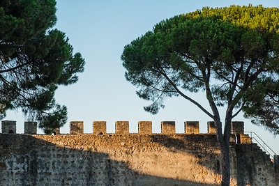 The walls of Castelo de Sao Jorge, Lisbon