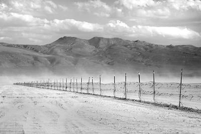 black white fence