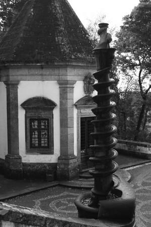Spiral decorative stone fountain