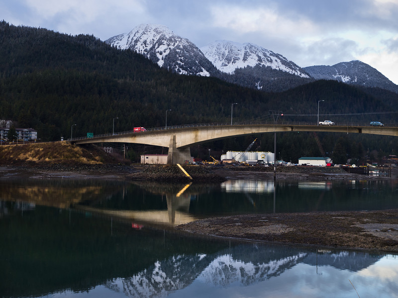 A Coke truck on the morning delivery route crosses the Douglas bridge. February 4th, 2011.