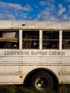 The old church bus is much more photogenic than the new one. May 9, 2009.
