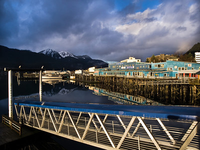 Somewhat dramatic light hits the wharf in downtown Juneau. November 7th, 2008.