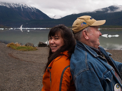 My wife and her father in front of Mendenhall Lake. November 13th, 2010.