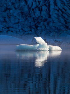 An iceberg floats in front of  Mendehall Glacier.