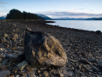 Auke Rock. One of my favorite photographs from Auke Bay, a big rock in soft light with Point Louisa in the background. October 29th, 2009.