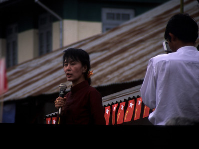 We were in Myanmar in Dec 2002 during a short time that Suu Kyi was traveling around the country. We were lucky to see her speak in the small town of Hispaw.