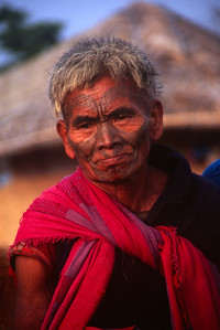 Man with tattoos in Nagaland - Northwest India