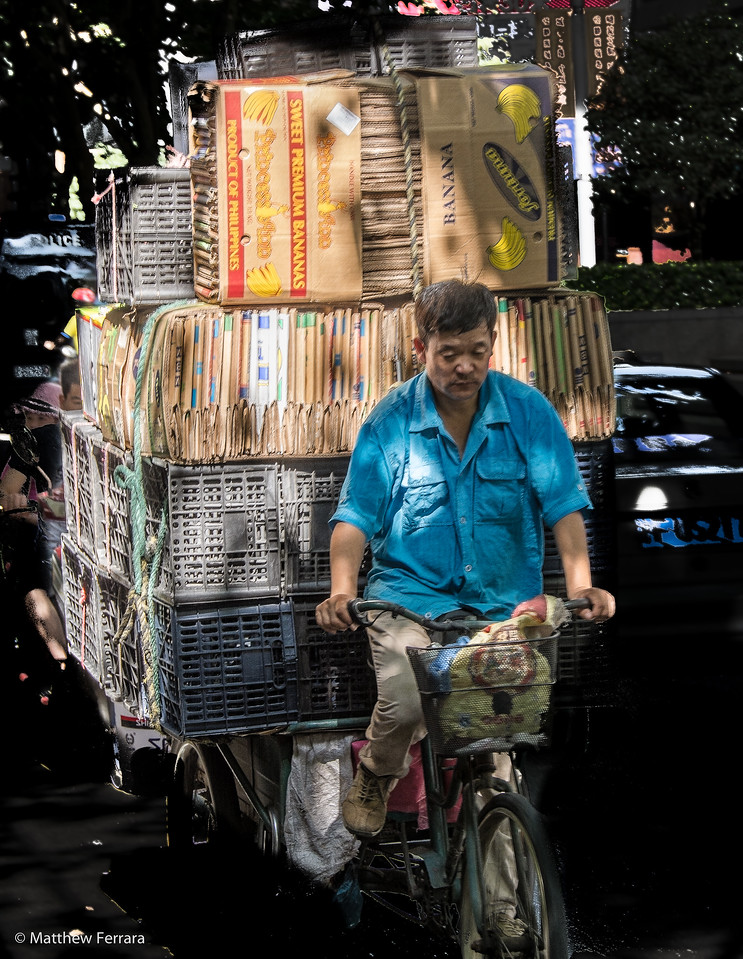 Paper boy, Shanghai, China