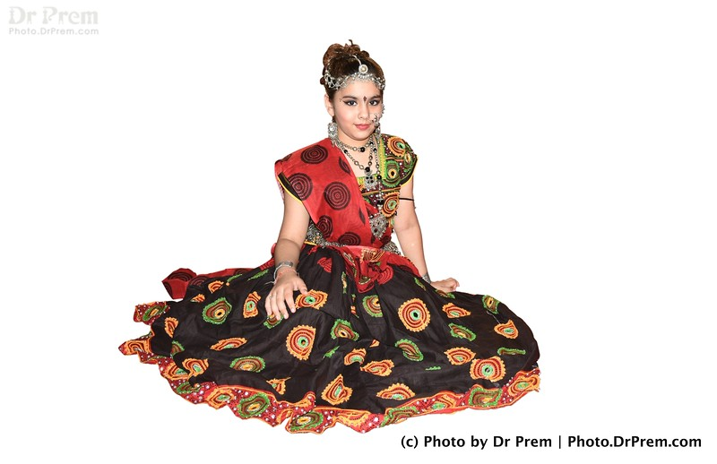 A Young Girl Wearing Traditional Navratri Dress.
