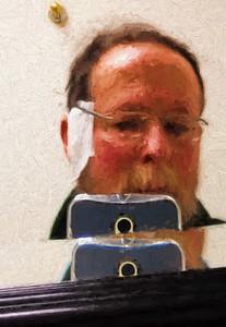 Vincent takes a bathroom selfie