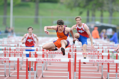 Danville's .... clears a hurdle on his way to winning the 110 high hurdles event in Tuesday's track meet at Selinsgrove.